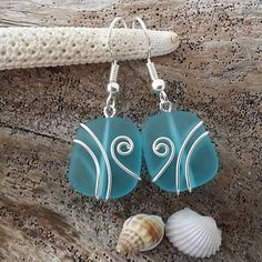 Made in Hawaii, Wire wrapped Turquoise Bay blue sea glass earrings, Sterling silver hook, gift box. Beach glass jewelry gift. #ad