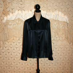 Navy Blue Blouse Silk Blouse Plus Size 20 Blouse by MagpieandOtis