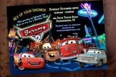 Hey, I found this really awesome Etsy listing at https://www.etsy.com/listing/200481111/disney-cars-birthday-party-invitation