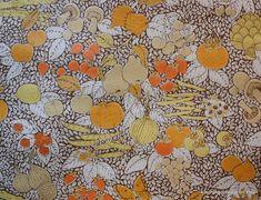 1970's Vintage Retro Wallpaper Kitchen Fruit and Vegetable Collage Brown. $10.00, via Etsy.- for kitchen?