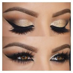 Best Black and Gold Eye Makeup Looks ❤ liked on Polyvore featuring beauty products, makeup and eye makeup