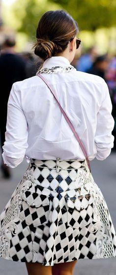 Spring Fashion 2014. Denim inspired skater skirt and white shirt. ::M::