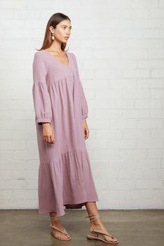 Rachel Pally Gauze Cecelia Dress - Iris on Garmentory Comfy Dresses, Linen Dresses, Cotton Dresses, Dusty Purple, Purple Hues, Rachel Pally, Gauze Dress, Vacation Dresses, Comfortable Outfits