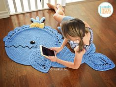 Joyce and Justin Whale Rug PDF Crochet Pattern Crochet Pattern PDF for making a beautiful Whale Animal Rug or Nursery Mat with… Crochet Pillow, Crochet Lace, Hippie Crochet, Half Double Crochet, Single Crochet, Animal Rug, Motifs Animal, Crocodile Stitch, Crochet Motif