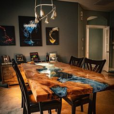 Walnut dining table with transparent turquoise resin Table Turquoise, Resin Furniture, Furniture Legs, Barbie Furniture, Garden Furniture, Furniture Design, Live Edge Furniture, Handmade Furniture, Furniture Projects