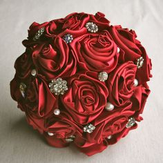 Red is always a great color! Rose Vintage Brooch Bouquet  Custom by carmenwestcreative on Etsy, $75.00