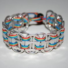 Rainbow Pop Can Tab Bracelet with Thin Ribbon