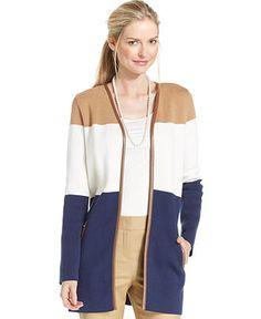 Charter Club Colorblocked Open-Front Cardigan - Sweaters - Women - Macy's