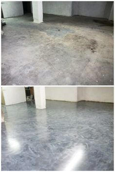 Floor was resurfaced w/ self leveling concrete & microtopping in distressed style