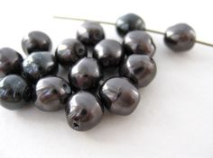 Vintage Bead Glass Pearls Charcoal Grey by BumbershootSupplies, $3.75