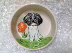 Hand Painted Ceramic Dog Bowl / Dog Pottery / Debby Carman/ Faux Paw Productions by FauxPawProductions on Etsy