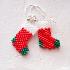 Peyote Stitch Christmas Stockings Beaded Earrings by BeadCrumbs