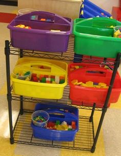 I like this idea of having buckets for each table with math manipulatives in them. This would save so much time because I won't have to pass out the manipulatives each time we do a lesson. I could see assigning a student a job to get these and pass them out each day