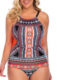 Plus Size Open Back Tankini Top and Panty