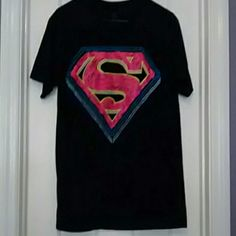 Size Large Superman Shirt NWOT. Black T-Shirt with Pink and Blue Superman logo. Never been worn in Excellent condition. Tops Tees - Short Sleeve