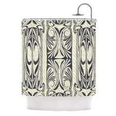 "Vikki Salmela ""The Palace"" Tan Black Shower Curtain"