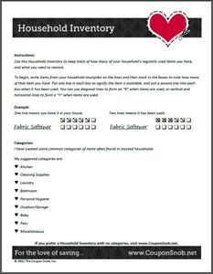 FREE Printable Household Inventory