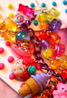 Candy Carnival Cutie Triple Stacked Charm Bracelet - Candy Resin and Cupcake Sprinkle - Kitsch Kawaii and Glitter Resin - Candy Glam1 by athinalabella1, via Flickr