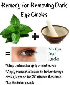 REMOVING DARK EYE CIRCLES: There is no website just an easy DIY and all you need is MINT leaves Chop and crush the MINT and leave it  for 20 minutes.   This is a wonderful remedy, I hope you do try it. Have a beautiful day....