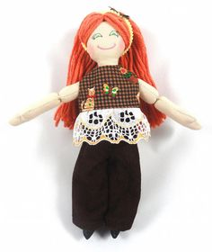 Redhead Dress Up Doll with Cat Print Shirt by JoellesDolls on Etsy