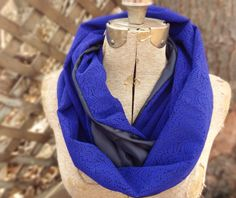Royal blue vintage lace infinity scarf with black by PaleDesign on Etsy, $29.00