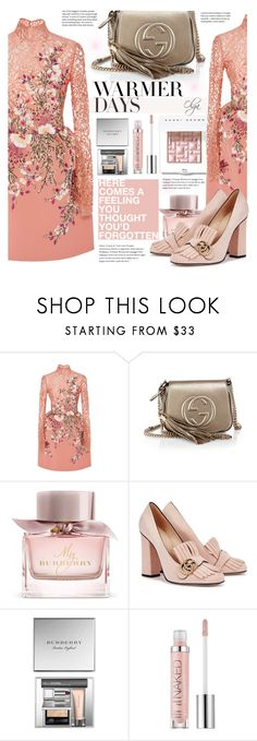 """Spring in Rose"" by olga1402 on Polyvore featuring Georges Hobeika, Gucci, Burberry, Urban Decay, Bobbi Brown Cosmetics and springdresses"