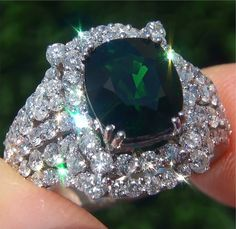 I would seriously LOVE to have this ring! Natural Tsavorite Garnet Diamond 18k White Gold Vintage Ring.