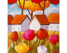 11x14 Tulips flowers art print, bright pink & purple spring tulips landscape for Easter, yellow fields & cute white cottages, featuring vibrant colors in a modern abstract folk style. ____________________________________________________________  TITLE: Tulips Landscape Yellow  SIZE: 11 x 14, Image - 9 1/4 x 11 3/4 (white border surrounds image for easy framing) -------------------------- This art print also comes in other sizes, please see the following listings.... Size - 8...