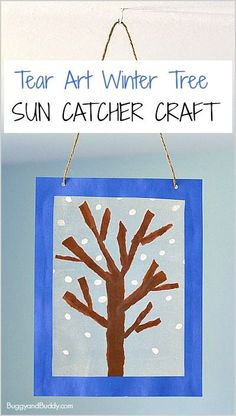 Winter Tree Suncatcher Craft Using Tear Art- fun art project for preschool and kindergarten! ~ BuggyandBuddy.com