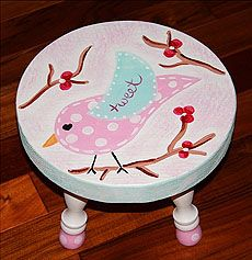 Love the little birdie & branches! Funky Furniture, Kids Furniture, Painted Furniture, Painted Bar Stools, Painted Chairs, Step Stools, Kids Stool, Chalk Painting, Tole Painting