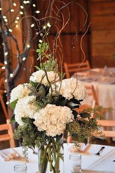 Rustic hydrangea centerpiece at Pratt Barn. Design by Rose of Sharon Floral Designs, via Flickr. Photo by Bettencourt Chase Photography.