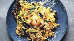 Fettuccine with Shiitakes and Asparagus Recipe | Bon Appetit