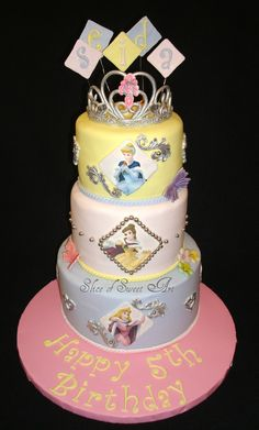 Disney Princess Birthday - cake for a Disney Princess Themed Birthday party (complete with gumpaste tiara)  So wish I had this at my daughter's Birthday.... if I only knew about this idea before her party :/