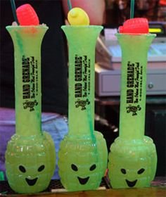 """Hand Grenade"" drinks.  Sold exclusively at Tropical Isle - 721 Bourbon Street, New Orleans, LA  70116"