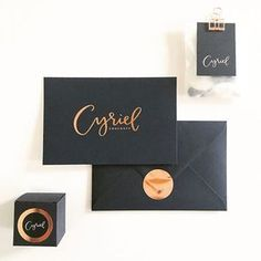 Simple & minimal design with golden typography and black color branding and packaging.