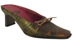 c3e9689ba4d Barbarella Women s Italian Lizard 2031 Dressy Mule Low Heel Burgundy Green