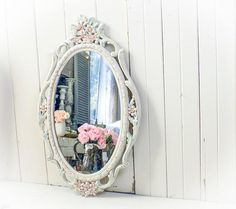 Oval Nursery Mirror Pink Ornate Shabby Chic Mirror Floral