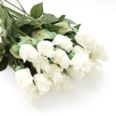 Real Like Artificial Roses High Quality Latex Real Touch Flowers Wedding Bouquet House Garden Decoration (White, 10PCS IN ONE BUNCH) * Click on the image for additional details.
