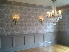 Dining Room with Farrow & Ball Lotus Wallpaper / chandelier option Lotus Wallpaper, Wall Wallpaper, Wallpaper Ideas, Dining Room Wallpaper, Kitchen Wallpaper, Laura Ashley Kitchen, Dining Room Inspiration, Hallway Inspiration, Hallway Ideas