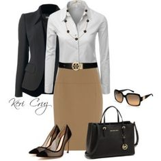 Cute work outfit in neutral colors #interviewoutfit #workoutfit #bfcloset