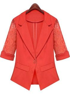 Womens Button Front Blazer - Bright Coral / Lace Sleeves