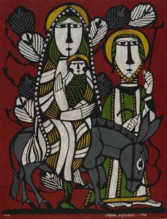 Mary, Joseph, and the infant Jesus  1978    Watanabe Sadao , (Japanese, 1913 - 1996)   Showa era     Stencil print; ink and color on paper