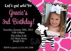 Zebra Birthday Invitation Zebra Birthday by TheTrendyButterfly, $15.00