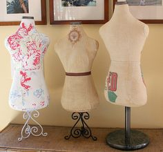 Vintage Style Dress Forms made from vintage fabrics by #georgiapeachez  Love them!!
