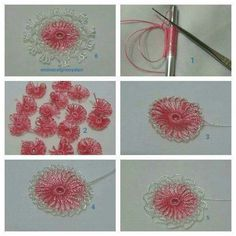 This Pin was discovered by Şav Hairpin Lace Crochet, Thread Crochet, Crochet Motif, Crochet Patterns, Embroidery Techniques, Embroidery Stitches, Embroidery Patterns, Hand Embroidery, Needle Lace