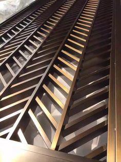 Chevron pattern metal screen Steel Gate Design, Door Gate Design, Decorative Metal Screen, Decorative Panels, Jaali Design, Metal Room Divider, Balcony Railing Design, Window Grill Design, Kitchen Cabinet Styles