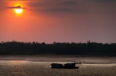 Mekong River at Sunset in Vietnam