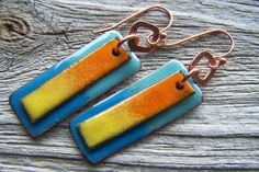 Copper Enameled Earrings Blue, Aqua, Orange and Yellow Can't you just see these made from PolyShrink with colored pencils?
