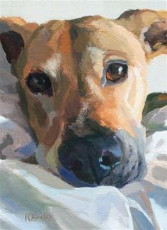 "Daily+Paintworks+-+""Jeans+Pup""+-+Original+Fine+Art+for+Sale+-+©+Kaethe+Bealer"
