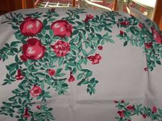 """Vintage Tablecloth Wilendur Red Pomegranates Apple 53"""" by 67"""" EX Condition RARE 